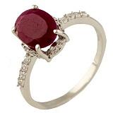 Серебряное кольцо Маддалена с рубином и фианитами
