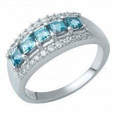 Серебряное кольцо Камалия с лондон топазом и фианитами
