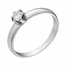 Кольцо из белого золота с бриллиантом Теплое чувство 0,14ct