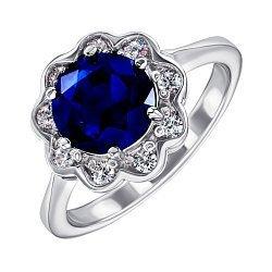 Серебряное кольцо с сапфиром и фианитами 000144883