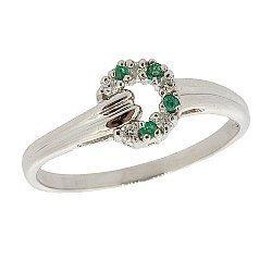 Серебряное кольцо с бриллиантами и изумрудами 000022194