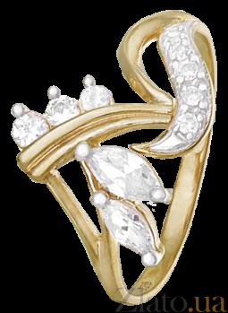 Позолоченное серебряное кольцо с цирконием Флорика 000025657