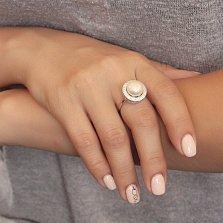 Серебряное кольцо Чувство прекрасного с жемчугом и фианитами