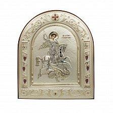 Православная икона Святой Георгий Победоносец на основе под дерево, гальванопластика, 16,7х22,4см