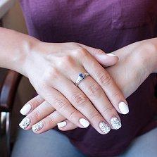 Серебряное кольцо Диадора с синтезированным сапфиром и фианитами