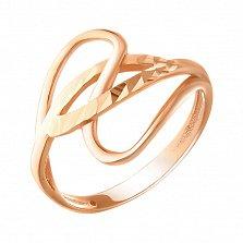 Кольцо из красного золота Чарующие изгибы с алмазной насечкой