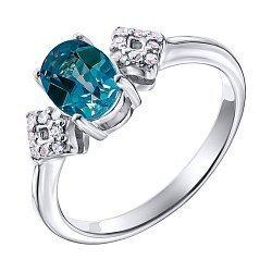 Серебряное кольцо с лондон топазом и фианитами 000137399