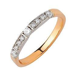 Золотое обручальное кольцо в комбинированном цвете с фианитами 000011300