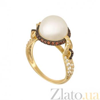 Кольцо из желтого золота Мария-Антуанетта с жемчужиной и фианитами VLT--ТТТ1220