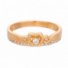 Золотое кольцо Золотое сердце с цирконием