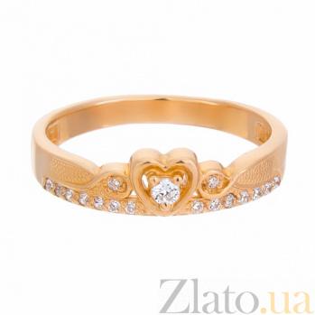 Золотое кольцо Сердце принцессы в красном цвете с фианитами 12570z