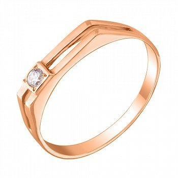 Перстень-печатка из красного золота с фианитом 000104109