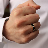 Золотое кольцо Амарит с ониксом и фианитами