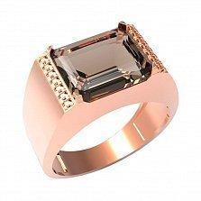Золотой перстень-печатка Конфуций с раухтопазом и фианитами