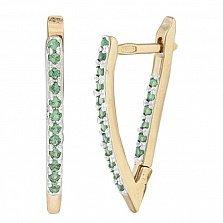 Серебряные серьги с зеленым цирконием Ланита