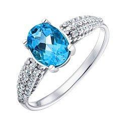Серебряное кольцо с синей шпинелью и фианитами 000148919