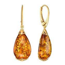 Серебряные серьги-подвески с янтарем и позолотой 000137567