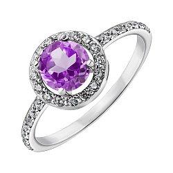 Серебряное кольцо с аметистом и фианитами 000011209