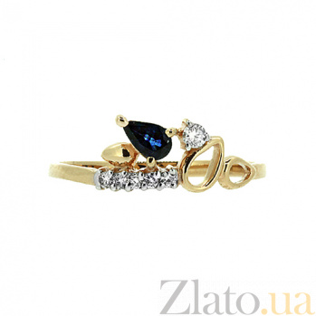 Кольцо в красном золоте Дарина с сапфиром и бриллиантами ZMX--RDS-5596_K