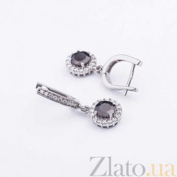 Серебряные серьги-подвески Эльмира с гранатом и фианитами 000080223