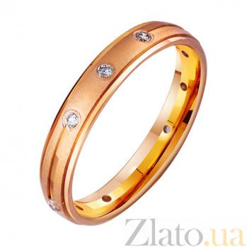 Золотое обручальное кольцо Сила чувств с фианитами TRF--4121245