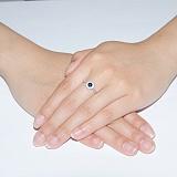 Серебряное кольцо с сапфиром и фианитами Солнышко