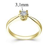 Помолвочное кольцо из желтого золота Королевский цветок с бриллиантом 3,1мм