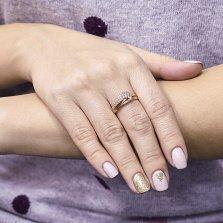 Золотое кольцо Магда с белыми фианитами и шинкой фантазийной формы