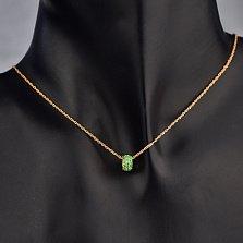 Золотой шарм-кулон Мелания с зелеными фианитами