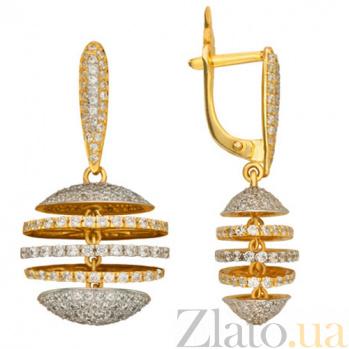 Золотые серьги с фианитами Карамболь VLT--ТТ2221-1