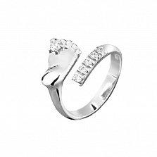 Серебряное кольцо Стопа с цирконием