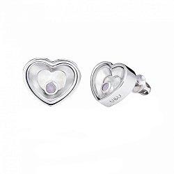 Серебряные пуссеты Сердце большое с плавающими синтезированными опалами, 10x10мм