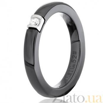 Кольцо из черной керамики Орвокки с серебром и фианитом 000030960