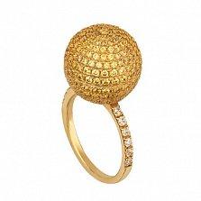 Кольцо из желтого золота Сфера с фианитами