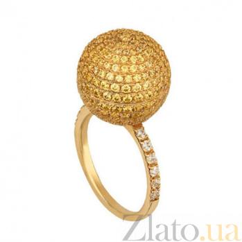 Кольцо из желтого золота Сфера с фианитами VLT--Т1136