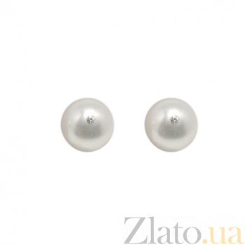 Серебряные пуссеты Сиси с белым жемчугом 9-9,5мм, инкрустированным кристаллами Swarovski 000058257