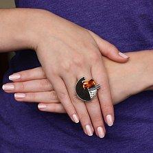 Серебряный перстень Абстракционизм с цитрином и эбеновой вставкой