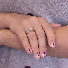 Золотое кольцо Стимул с кристаллом белого циркония