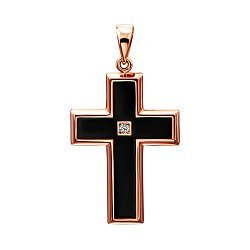 Крестик из красного золота с черной эмалью и цирконием 000138593