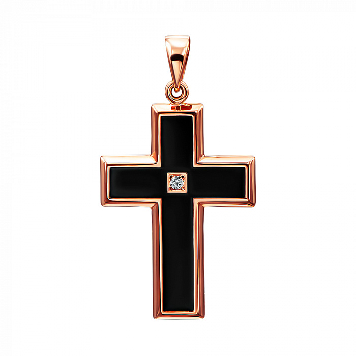 Крестик из красного золота с черной эмалью и цирконием 000138593 000138593