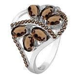 Серебряное кольцо с дымчатым кварцем Вуаль