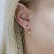 Серьги-джекеты Треугольный бум в красном золоте с фианитами