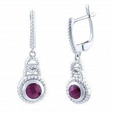 Серебряные серьги-подвески Плетенка с рубинами