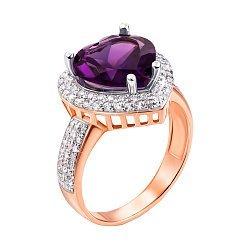 Кольцо в красном золоте с аметистом и фианитами 000104190