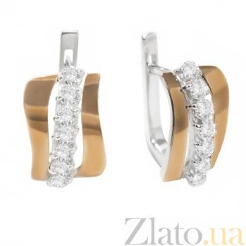 Серебряные серьги с золотыми вставками и цирконием Миранда BGS--329с