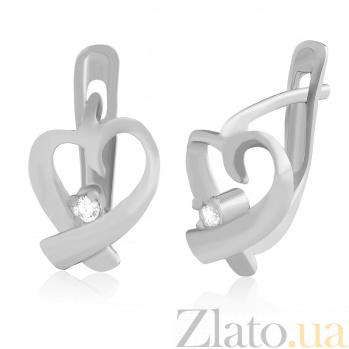 Серебряные cерьги с фианитами Оригинальные сердечки SLX--С2Ф/024