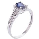 Кольцо в белом золоте с сапфиром и бриллиантами Джорджия