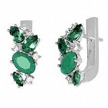 Серебряные серьги Шейла с зеленым агатом, зеленым кварцем и фианитами