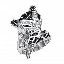 Серебряное кольцо Спящий лис с черным и белым цирконием