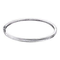Серебряный жесткий браслет с фианитами 000123501